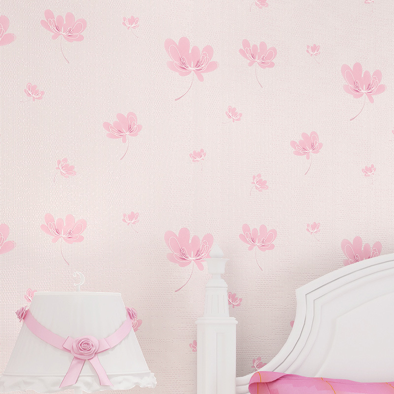 Chinese Romantic Flowers Wallpaper Pink Flower Wallpaper Dream Wall Paper For Kids Room 3d Kids Wallpaper Graffiti Paper Roll<br>