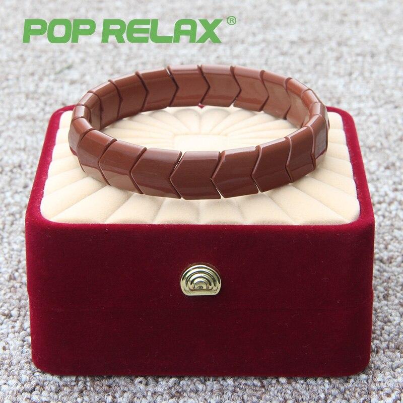 POP RELAX Korea health germanium stone bracelet for women negative anion tourmaline stone relax bracelet physical therapy B21<br>