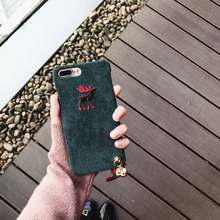 New Style Corduroy Elk Case for iPhone 6 6S Plus 7 7plus Capas with Bright Red Strap Lucky Cat Pendant Fashion Animal Hard Cover