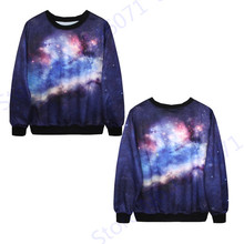 Autumn Long Sleeve Training Sweaters Harajuku Space Galaxy Jogging Suits Winter Woman Tracksuits Purple Loose Jumper Pullover(China)