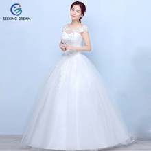 2017 Hot Girl Ivory White Sexy Ball Gown Dress Yarn Lace O-Neck Wedding Dress Elegant Bride Princess Real Photos Plus Size DL024