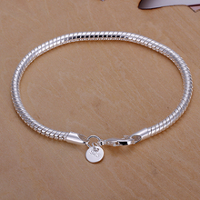 4pcs/lot Men jewelry pure silver 4mm 20.5cm snake chains bracelets bangles pulseiras H159 Holiday gift pouches