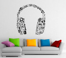 Music Series Headphones In Music Notes Tribal Pattern Special Vinyl Wall Sticker Home Bedroom Decor Vinyl Art Wallpaper Y-970(China)