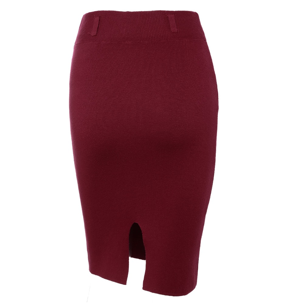 2018 Fashion Skirts Autumn winter Casual Women High Waist Knee-length Knitted Pencil Skirt Elegant slim Long Skirts Black Skirt 13