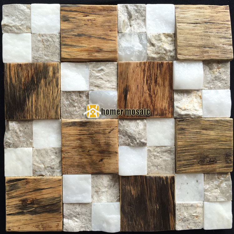 3D natural wood mosaic old ship wood tiles mixed stone wall mosaic HS6000B for bar background backsplash kitchen wall<br>