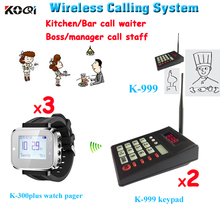 Wireless Queuing System Fast Food Restaurant Equipment 433.92MHZ Wireless Waterproof Watch Paging (2 keypad+3 watch)