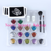 Free shipping Professional temporary tattoo body art Glitter Tattoo kit with 15 color/brushes/glue/stencil