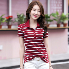Buy new 2018 Summer Striped T-Shirts Button V-Neck Short Sleeve Womens Clothing Cotton T-Shirt Women Plus Size Clothes T Shirt femme for $17.74 in AliExpress store