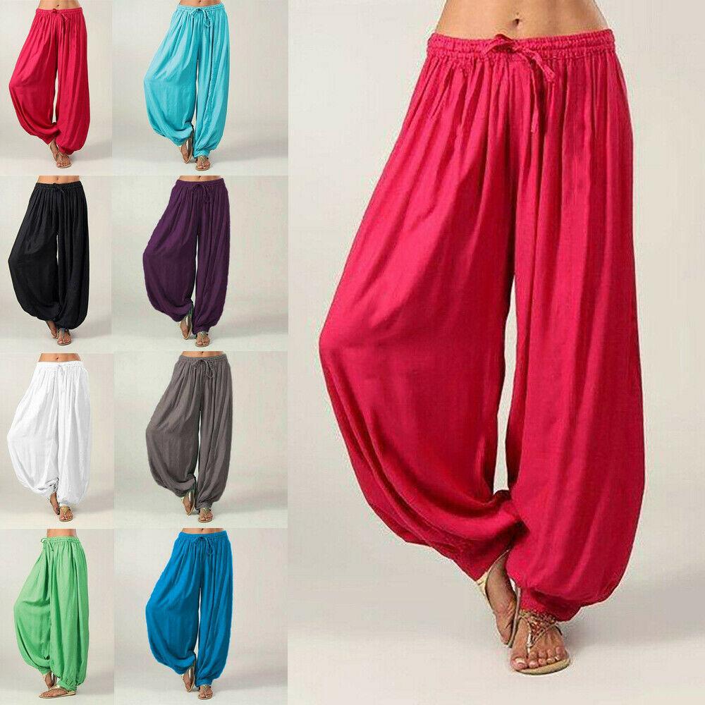 Men Women Maroon Color Cotton Harem Pants Genie Trouser Dance Yoga Unisex Hippie