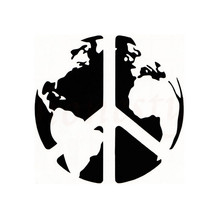 World Peace Earth Map Art Car Stickers for Wall Home Glass Window Door Laptop Auto Truck Vinyl Decal Decor Black 11.4cmX11.4cm