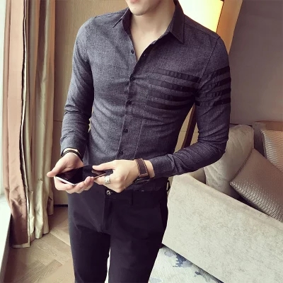 2017 Famous Brand British Fashion Casual Men Plus Size 3XL Social Shirts Slim Fit Long Sleeve Check Solid Men Dress Shirts