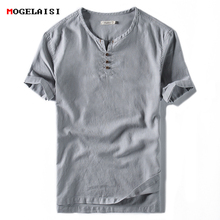 Buy New 2018 brand Linen t shirt Men Casual Solid Tees Linen Cotton Top t-shirt Men O-Neck Short Sleeve Buttons tshirt for $12.54 in AliExpress store