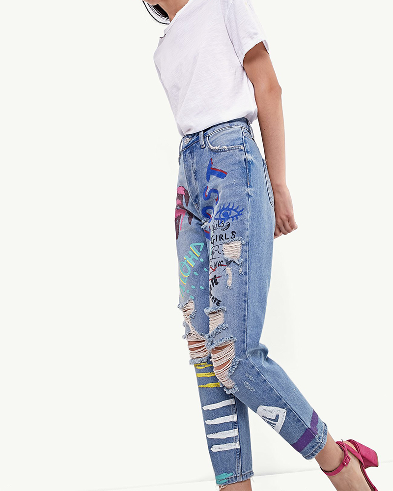ShejoinSheenjoy Fashion Graffiti Print Jeans Woman High Waist Ripped Jeans For Women Zipper Casual Straight Denim Pants Trousers (11)