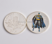 5pcs/lot 2014 super Hero coin 999. silver plated Batman coin US  Movie Characters Colorized replica coin Free shipping