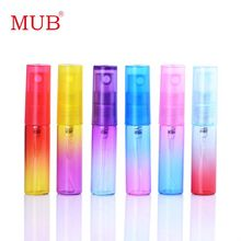 MUB - 5ml (120 pieces/lot) Rainbow Printing Glass Perfume Sprayer Bottle Beautiful Mixed Color Refillable Parfum Botella(China)