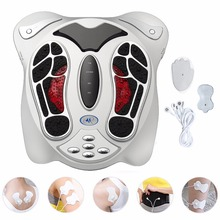 Electric Foot Massager Far Infrared Pressure Points Foot Massage Machine Reflexology Feet Care Body Slimming Belt 8 EMS Pads(China)