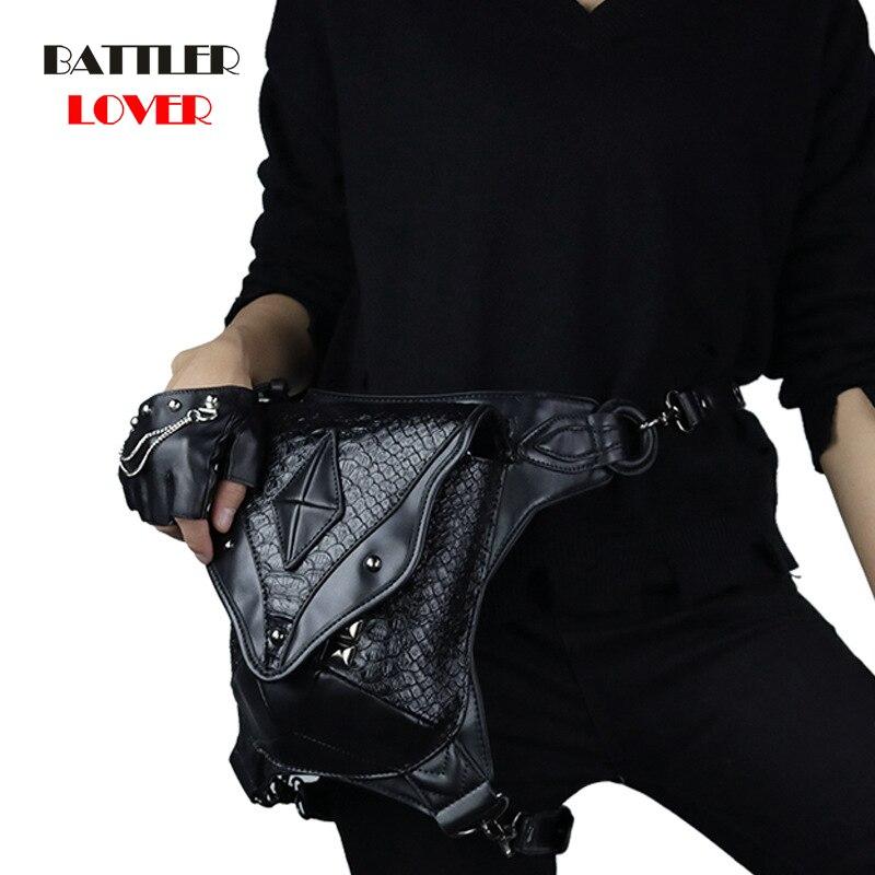 Punk Female Male Unisex Retro Rock Shoulder Bag Small Phones Leg Bag Men Womens Messenger Shoulder Waist Bags Steampunk Waistbag