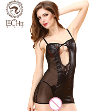 Leeches Q898 latex women lingerie sexy hot erotic nightwear dress perspective black lace suit temptation lenceria porn sexy shop(China)