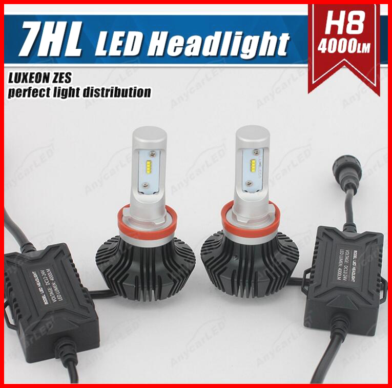 1 Set H8 50W 8000LM G7 LED Headlight Auto Kit LUXEON ZES LUMILED Chip 7th Fanless 6500K Super White Single Beam Repl HID Halogen<br><br>Aliexpress