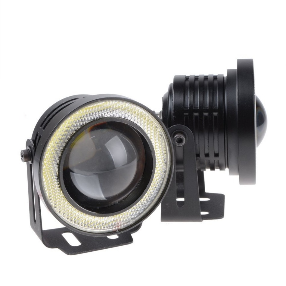 Hotest 2pcs/lot Universal 3.5 Inch 90mm 30W Led COB Fog Lamp Car Auto Fog Angel Eyes Light With Lens DC12V-24V  Any Car Can Use<br><br>Aliexpress
