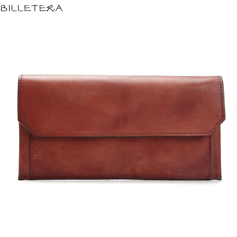 BILLETERA Vintage 100% Genuine Vegetable Tanned Leather Cowhide Women Wallets Purse With Removable Pocket Wallet Purse<br>