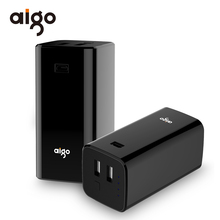 Buy Aigo 10000mAh Power Bank Dual USB Outputs 18650 Lithium Battery Portable Powerbank External Battery Poverbank Iphone 5 6 7 X for $18.38 in AliExpress store