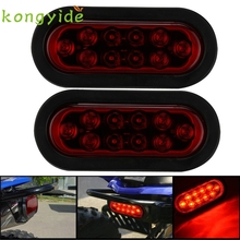 2x RED 6 Oval LED 10 Diode Tail Stop Light w/grommet & plug Truck Trailer RV fe9