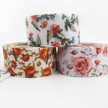 "(5yds per roll) 1""(25mm) flowers high quality printed polyester ribbon 5 yards,DIY handmade materials,wedding gift wrap,5Y49665(China)"
