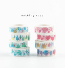 Water color 15mm decoration tape, DIY stickers cranes raindrop heart diamon air balloon