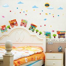 Cartoon Cars Wall Decal Sticker Home Decor DIY Removable Art Vinyl Mural For Kids Room/Bedside/Background/kindergarten QTB422(China)