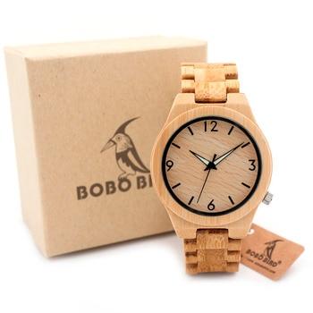 BOBO OISEAU D27 Plein Bambou En Bois Montre pour Hommes Top Marque luxe Quartz En Bois Bande Lumineux Aiguille Montres en Cadeau Boîte