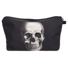 New Women Neceser Portable Make Up Bag Case 3D Printing Skull Black Organizer Women Pouch Travel Toiletry Bag Cosmetic Bag