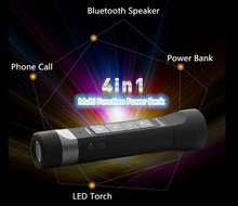Portable 2 IN 1 HiFi Touch Control Handsfree Wireless Stereo Bluetooth Speaker With FM Radio /TF Card Slot, 4000mAh Power Bank