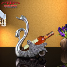 2016 Real Modern Decor Home Furnishing Lovers Wedding Gift Ornaments Swan Wine Rack Practical Living Room Cabinet Decoration