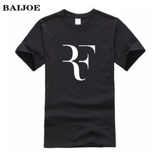BAIJOE Fashion Roger Federer RF Print T Shirt Men Short Sleeve Tshirts Tops Hip Hop T shirt homme Man cotton casual T shirts