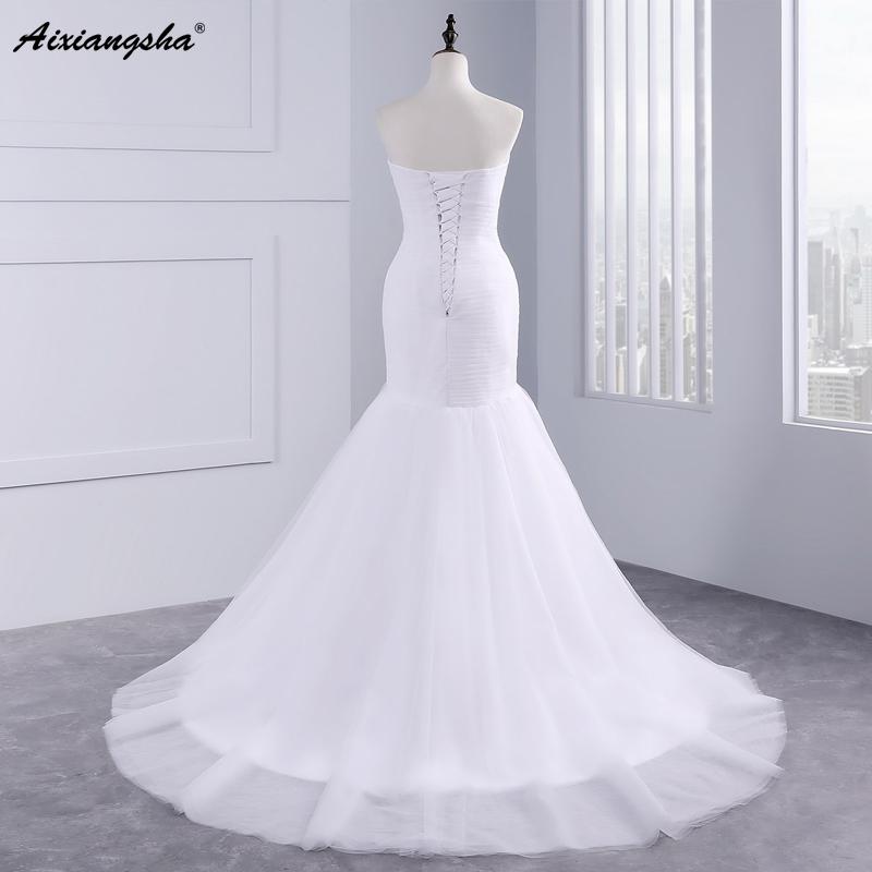 Hot sale floor length pleat cheap wedding dresses tulle robe de mariage Elegant Mermaid wedding dress 2017 3