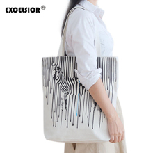 EXCELSIOR Zebra Pattern Shopper Bags Canvas Women Tote Shopping Bags Casual Handbags Reusable One Shoulder Foldable Lady Bag sac