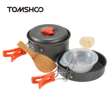 TOMSHOO 6pcs/set Outdoor Camping Hiking Cookware Backpacking Cooking Picnic Bowl Pot Pan Set For Outdoor Cook