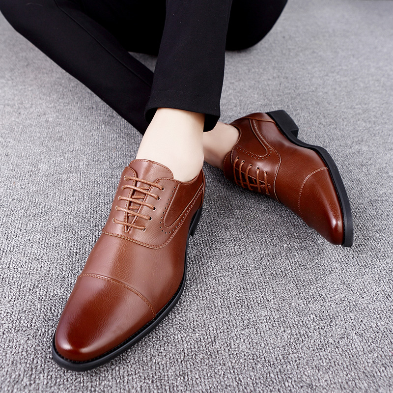 men spring working shoes luxury brand italian eurpean style pointed toe elegant male footwear dress working oxford shoes for men (17)