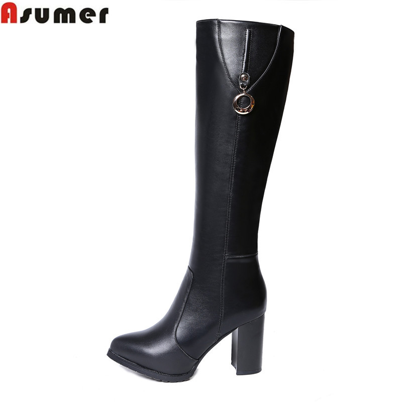 new arrival 2016 winter warm genuine leather women boots thick high heels pointed toe shoes solid black mid calf boots<br><br>Aliexpress