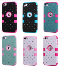 Bling Diamond Starry Hybrid Case For Ipod Touch 6 6G 6th 5 5G 5th Hard Plastic Silicone Shockproof Rhinestone Armor Skin 10PCS