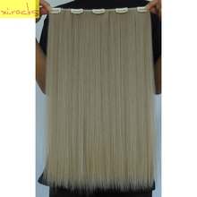 2 Piece Xi.rocks 5 Clip in Hair Extensions 50cm Synthetic Hair Clips Extension 50g Straight Hairpiece Hairpin Ash Blonde Color16