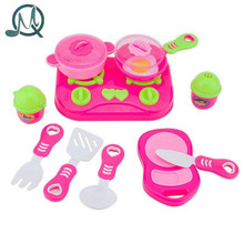 MQ 11Pcs Pink Kids House children Kitchen Toys For Girls Cooking Food Dishes Cookware Pretend & Play Kitchen Playset toys
