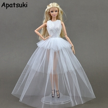 Buy White Doll Dresses Barbie Doll 1:6 Sexual Multi-layer Evening Gown Purely Manual Clothes Lace Wedding Dress 1/6 BJD Doll