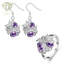 Jewellery Online Australia Hot Sale Trendy Beautiful Plant with Blue/Purple/Red/White Crystal Earrings&Ring Fashion Jewelry Sets(China)