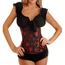 Sexy Black Red Floral Waist Trainer Tummy Control Women Waist Bodycon Corsets Cincher Body Shaper Bodysuits Lingerie Girdle XXL