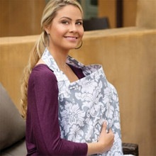 The Best Nursing Cover For Breastfeeding -100% Breathable Cotton With Storage Pockets Flower Printed for Feeding Baby LA872921(China)