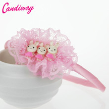 Candiway New Arrival Kids Bunny Headband Cute Lace Hair Band Minnie Bunny Halloween Christmas Party Headwear Hair Accessories
