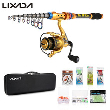 Lixada Portable Lure Rod Set Spinning Rod Fishing Reel Combos Full Kit 2.1/2.4/2.7/3M Fishing Rod Pole Reel Line Lures Hooks Bag