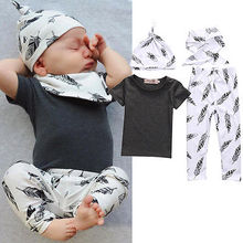 Hot Kids Short Sleeve Outfits Cute Baby Girl Casual Tops Bibs Hat Toddler Leaves 4pcs Set Clothes(China)